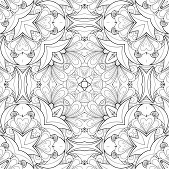 Fleurs et feuilles à colorier motif noir et blanc