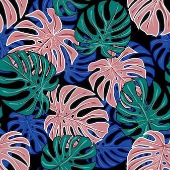Fleurs feuilles modèle sans couture motif floral style folklorique illustration dessinée à la main printemps fleuri impression textile vintage