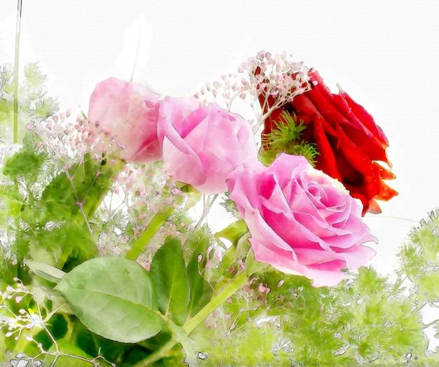 Fleurs fond d'aquarelle