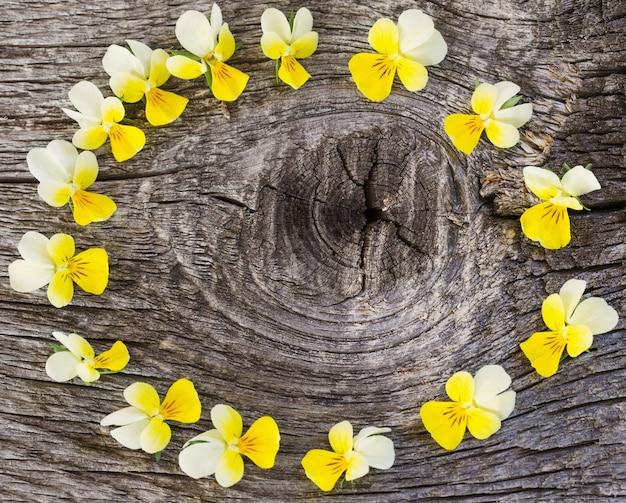 Fleurs sur fond en bois