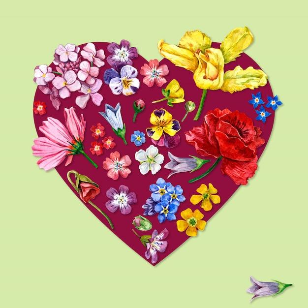 Fleurs en forme de coeur aquarelle