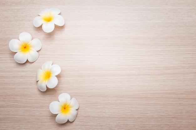 Fleurs de frangipanier sur fond blanc. concept pour fond spa