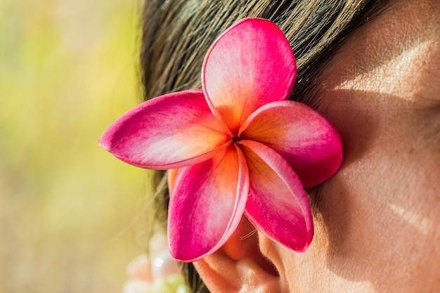 Fleurs de frangipanier rose tuck oreille femmes.