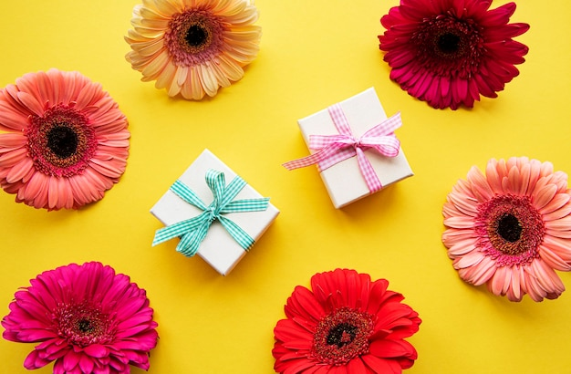 Fleurs de gerbera et coffrets cadeaux sur fond jaune