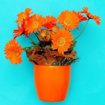 Fleurs de gerbera dans un pot décoration d'intérieur minimal