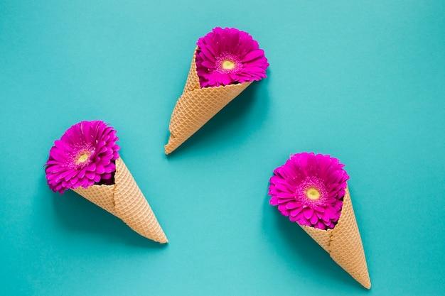 Fleurs de gerbera violet enveloppées dans des cornets de crème glacée