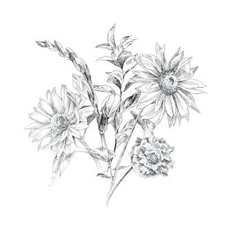 Fleurs grapiques peintes à la main dessin. bouquet de fleurs illustration noir et blanc.