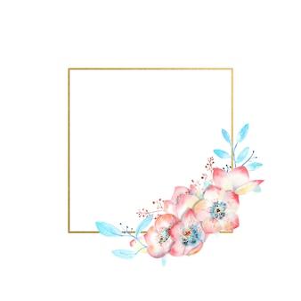 Fleurs d'hellébore rose aquarelle sur un cadre en forme de carré d'or