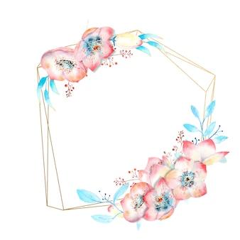 Fleurs d'hellébore rose aquarelle sur un cadre or creux
