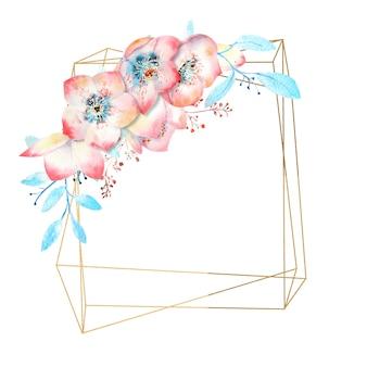 Fleurs d'hellébore rose aquarelle sur un cadre polygonal or