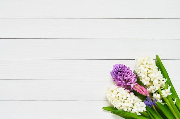 Fleurs de jacinthe sur fond de bois blanc vue de dessus copie espace carte de voeux