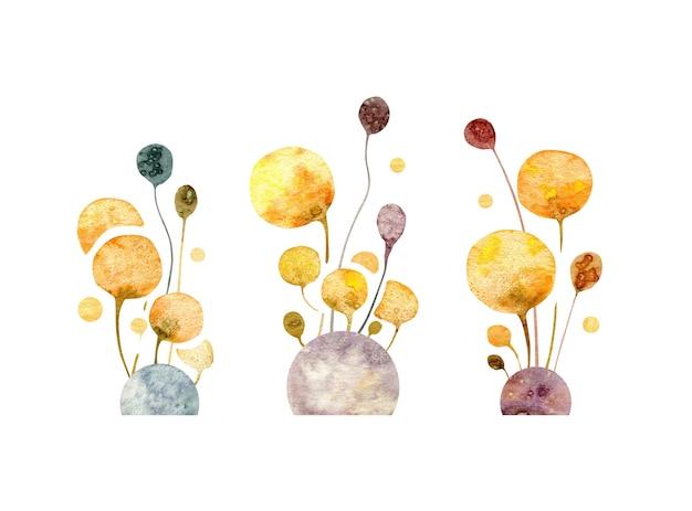 Fleurs jaunes abstraites dessinés à la main floral pissenlits pousses pierres isolés sur fond blanc
