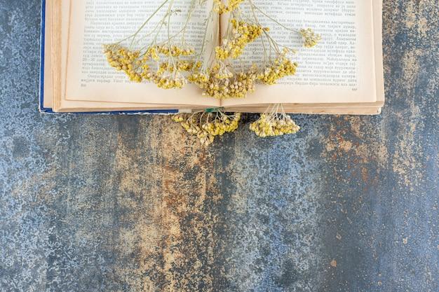 Fleurs jaunes séchées sur un livre ouvert.