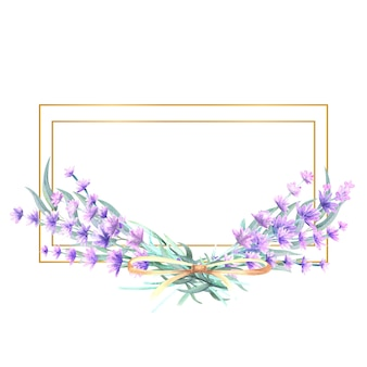 Fleurs de lavande dans un cadre doré rectangulaire