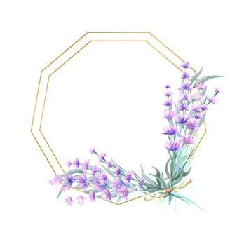 Fleurs de lavande dans un cadre or polygonal