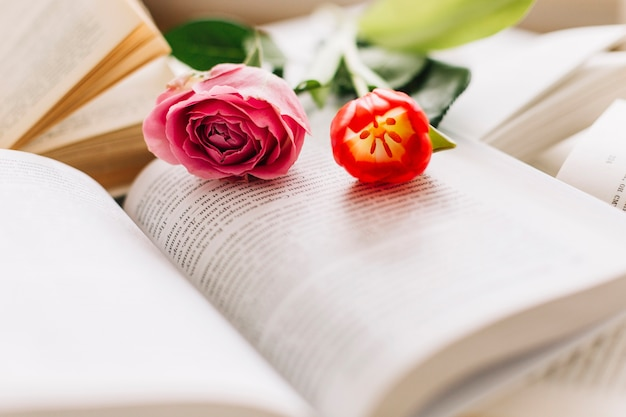 Fleurs sur des livres ouverts
