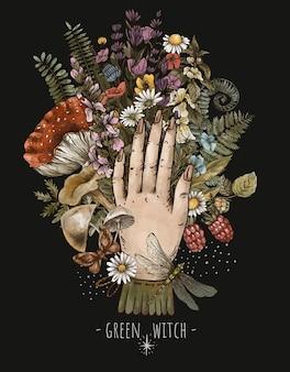 Fleurs occultes, illustration de sorcière verte, herbes, champignons, amanite, fougère. bouquet de plantes de forêt magique avec une main de femme, carte de voeux florale vintage isolée sur fond noir