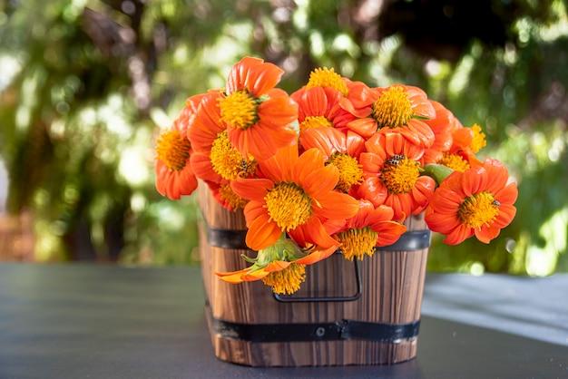 Fleurs orange disposées dans des contenants rustiques avec lumière naturelle.