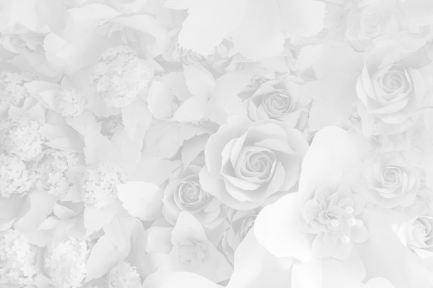 Fleurs en papier, roses blanches découpées dans du papier, décorations de mariage