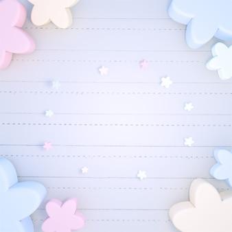 Fleurs pastel colorées en rendu 3d sur un papier pour ordinateur portable