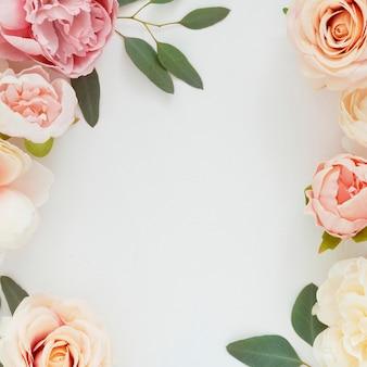 Fleurs pastel sur modèle de fond blanc