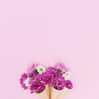 Fleurs pourpres et blanches dans des cônes de gaufre