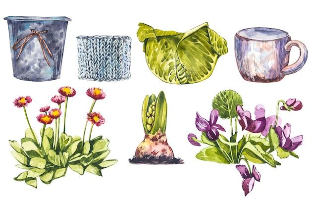 Fleurs de printemps aquarelle en pot de fleur