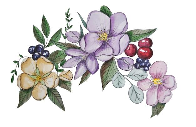 Fleurs de printemps avec des baies isolées sur illustration aquarelle doublure doublée blanche