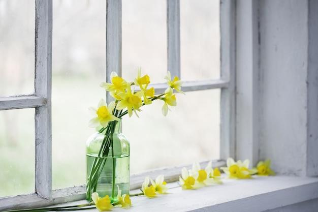 Fleurs de printemps sur le rebord de la fenêtre