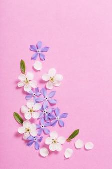 Fleurs de printemps sur rose