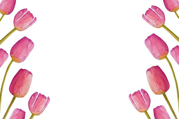 Fleurs de printemps tulipe printanière aquarelle rose dessiné à la main.