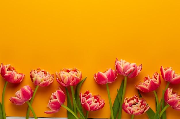 Fleurs de printemps. tulipes sur fond de couleurs jaunes. carte de voeux style vintage rétro. fête des mères, carte de voeux de pâques.