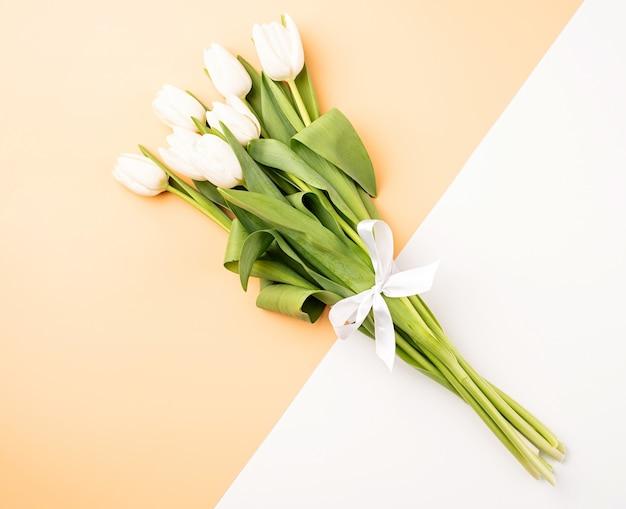 Fleurs de printemps. vue de dessus des tulipes blanches sur fond blanc et beige double couleur