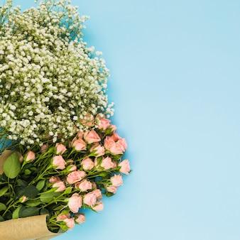 Fleurs de roses blanches et de souffle de bébé sur fond bleu