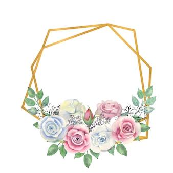 Fleurs roses bleues et roses, feuilles vertes, baies dans un cadre polygonale or
