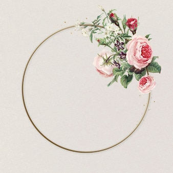 Fleurs roses cercle cadre illustration vintage rose