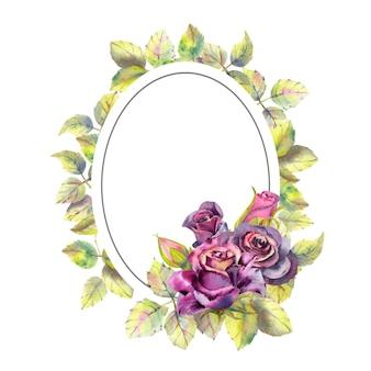 Fleurs de roses foncées vertes laisse la composition dans un cadre géométrique doré cadre ovale aquarelle