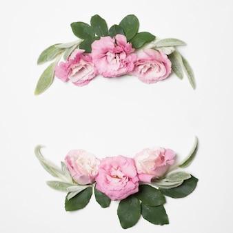Fleurs roses et plantes vertes