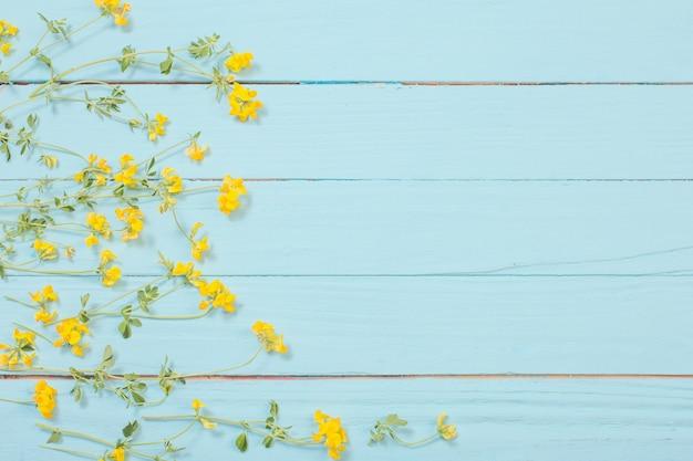 Fleurs sauvages jaunes sur fond de bois bleu