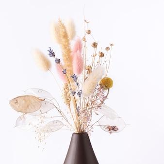 Fleurs sèches dans un vase sur fond blanc.