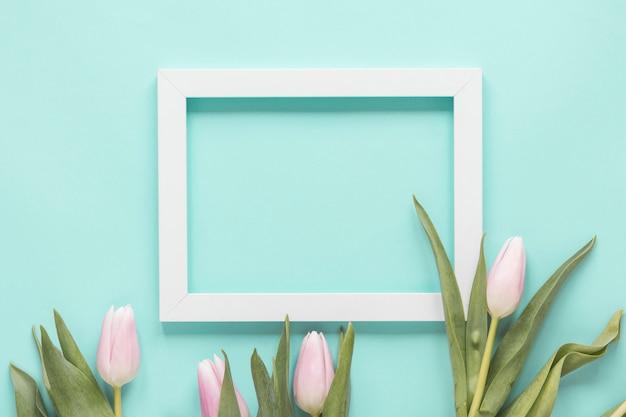 Fleurs de tulipes avec un cadre vide sur la table bleue