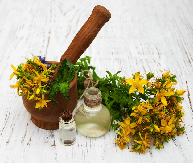 Fleurs tutsan et huile naturelle