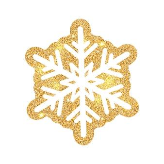 Flocon de neige brillant scintillant fait de poussière d'or