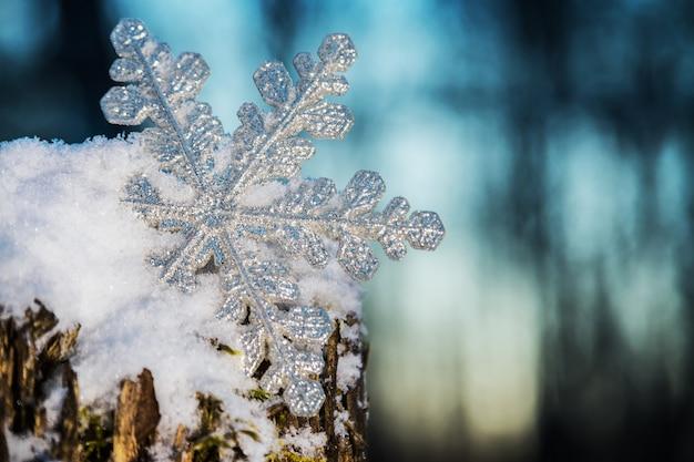 Flocon de neige décoratif qui sort de la neige