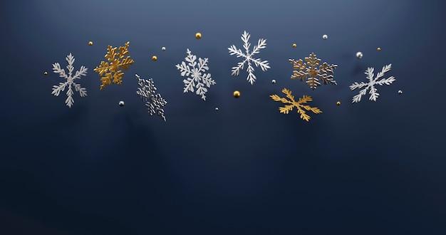 Flocon de neige de luxe de noël sur fond bleu
