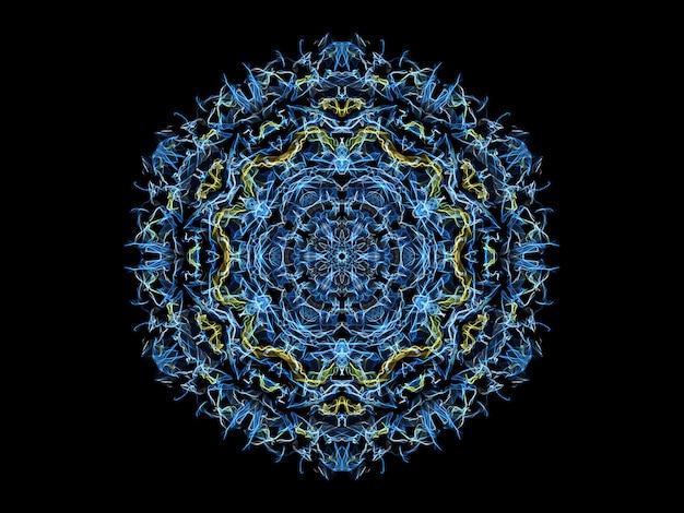 Flocon de neige mandala flamme abstrait bleu et jaune, motif rond floral ornemental