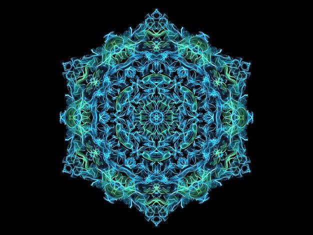 Flocon de neige mandala flamme abstraite bleu et turquoise, thème yoga motif floral rond ornemental.