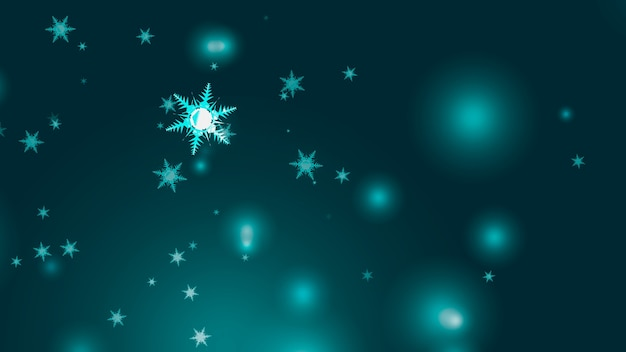 Flocon de neige six étoiles douze branches aile courte épine tombant des particules de poussière de glace