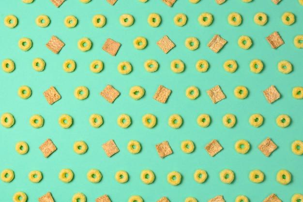Flocons sur fond vert. schéma.