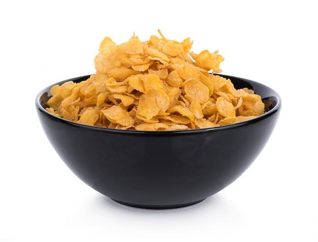 Flocons de maïs avec du lait dans un bol